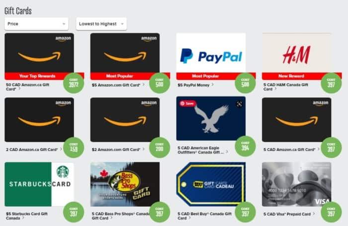 PrizeRebel gift card rewards