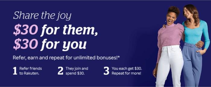Rakuten 30 dollar welcome bonus